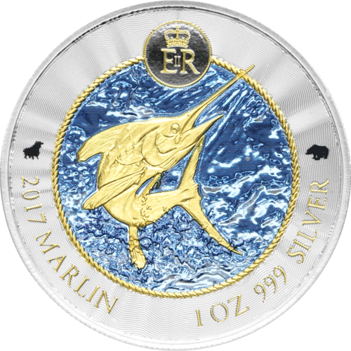 1 KY-Dollar Cayman Islands 2017 Marlin Bull&Bear BlueLine 1oz Silver 0.999