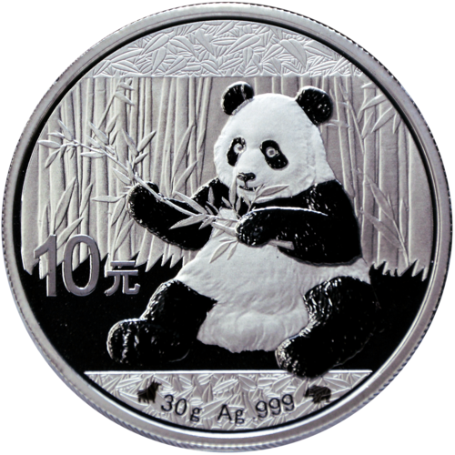 Panda Bull and Bear Black & White 10 Yuan China 2017 30g Silver Coin 0.999